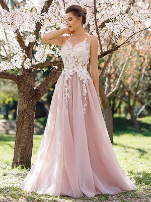 Open to Adoration Princess Style Jewel Floor-Length With Applique Tulle Dresses