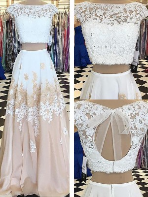 Touch of Texture Princess Style Bateau Chiffon With Lace Floor-Length Two Piece Dresses