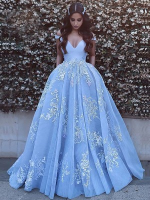 Time to Shine Ball Gown Off-the-Shoulder With Applique Tulle Sweep/Brush Train Dresses
