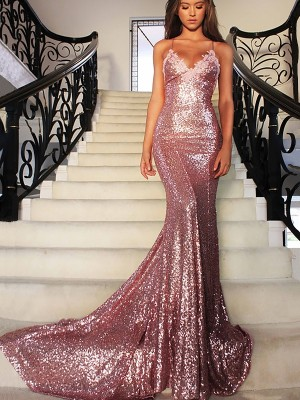 Memorable Magic Mermaid Style Sequins V-neck Sweep/Brush Train With Ruffles Dresses