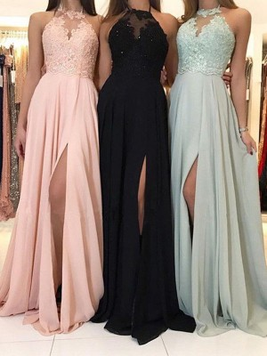Defined Shine Princess Style Halter With Applique With Ruched Sweep/Brush Train Chiffon Dresses