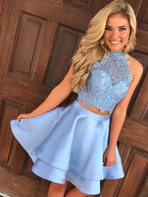 Pleased to be Me Princess Style Satin Lace Halter Short/Mini Two Piece Dresses