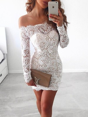 Styled to Smile Sheath Style Off-the-Shoulder Lace Short/Mini Dresses