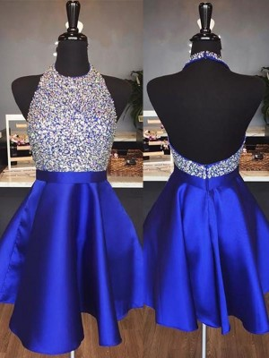 Pleasant Emphasis Princess Style Halter Short/Mini With Beading Satin Dresses