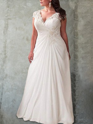Festive Self Empire Sweetheart Lace Sweep/Brush Train Chiffon Plus Size Wedding Dresses