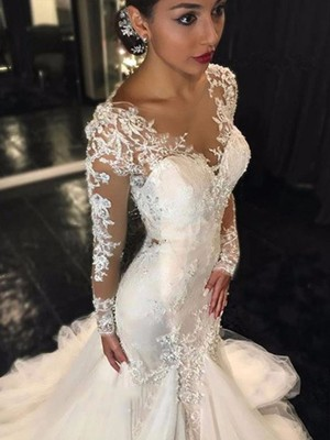 Fresh Picks Mermaid Style V-neck Lace Court Train Tulle Wedding Dresses