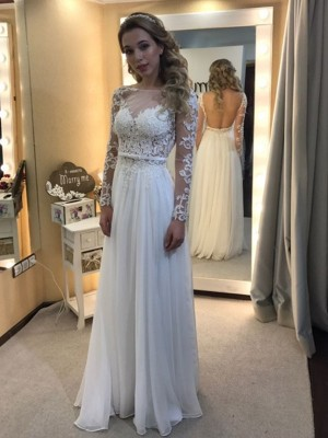 Limitless Looks Princess Style Bateau Floor-Length Lace Chiffon Wedding Dresses