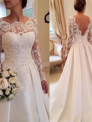 Voiced Vivacity Ball Gown Scoop Lace Court Train Satin Wedding Dresses