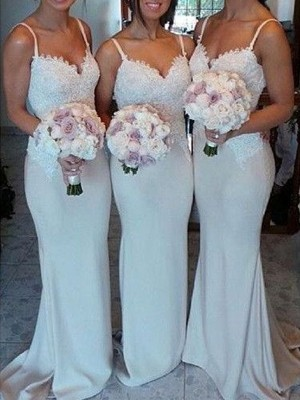 Stylish Refresh Sheath Style Sweetheart Satin Lace Sweep/Brush Train Bridesmaid Dresses