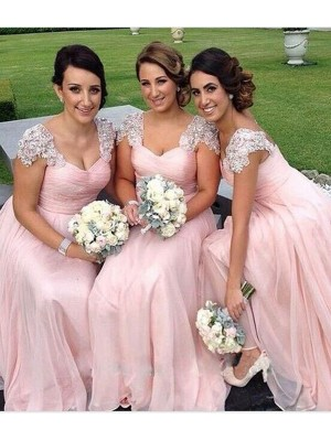 Beautiful You Princess Style Sweetheart Floor-Length Beading Chiffon Bridesmaid Dresses
