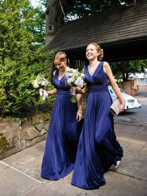 Vibrant Stylist Princess Style V-neck Pleats Chiffon Floor-Length Bridesmaid Dresses