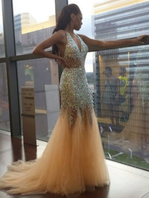 Easily Adored Mermaid Style Halter Tulle Sequin Court Train Dresses