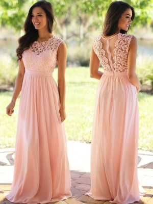 Limitless Looks Princess Style Scoop Applique Floor-Length Chiffon Dresses