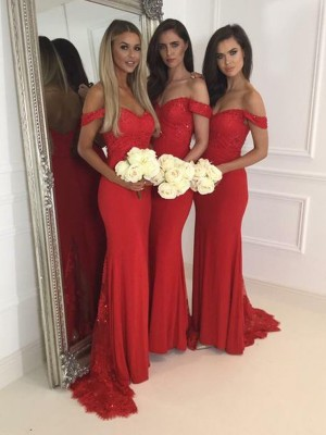 Lively Identity Mermaid Style Off-the-Shoulder Jersey Floor-Length Bridesmaid Dresses