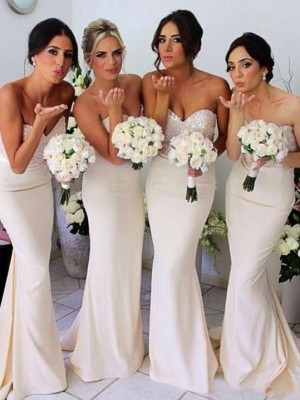 Just My Style Mermaid Style Sweetheart Beading Sweep Train Satin Bridesmaid Dress