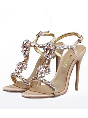 Women's Satin Peep Toe With Rhinestones Stiletto Heel Sandals Shoes