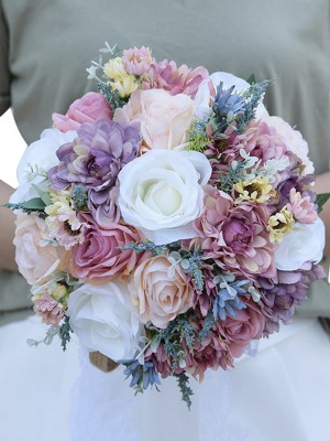 Attractive Round Artificial Flower Bridal Bouquets