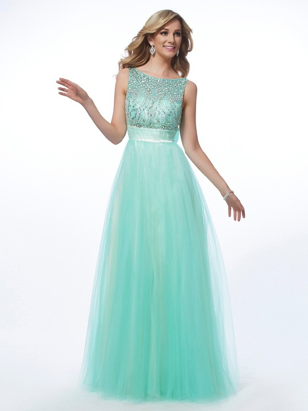 Glitz the Spot Princess Style Bateau Beading Long Net Dresses