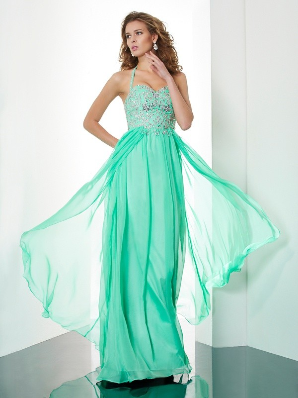 Eye-Catching Charm Princess Style Halter Beading Applique Long Chiffon Dresses
