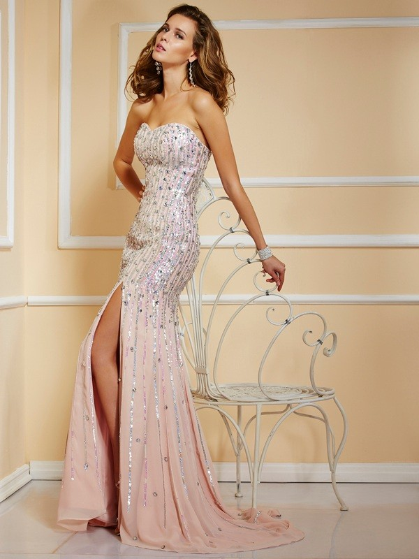 Aesthetic Honesty Princess Style Beading Strapless Long Chiffon Dresses