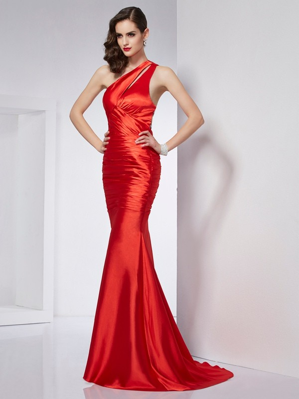 Time to Shine Sheath Style One-Shoulder Beading Long Elastic Woven Satin Dresses