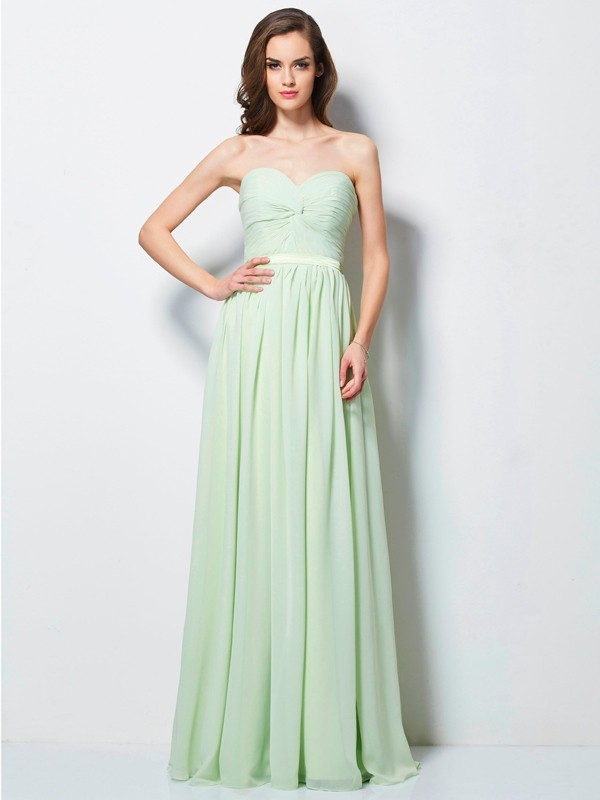 Sweet Sensation Princess Style Sweetheart Pleats Long Chiffon Dresses