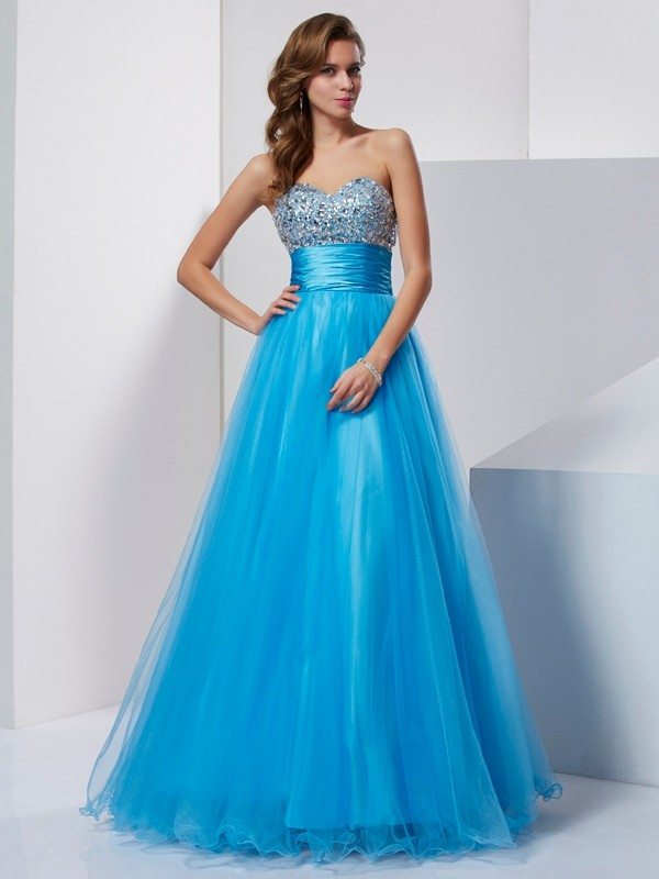 Cordially Delighted Princess Style Sweetheart Beading Long Tulle Dresses