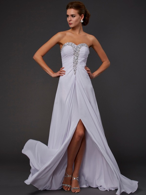 Pretty Looks Sheath Style Strapless Beading Long Chiffon Dresses