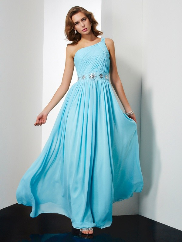 Cheerful Spirit Princess Style One-Shoulder Beading Long Chiffon Dresses
