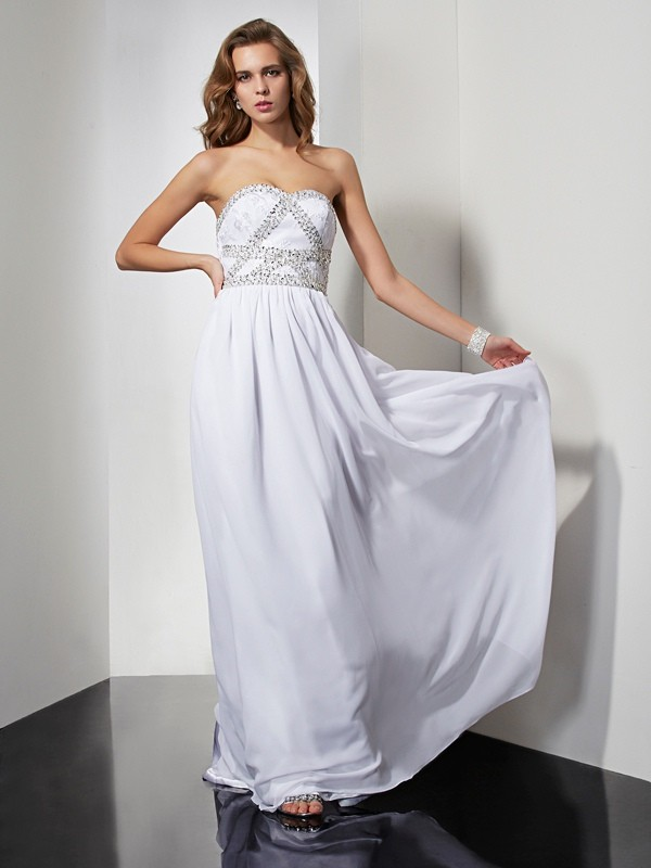 Dancing Queen Sheath Style Strapless Beading Long Chiffon Dresses
