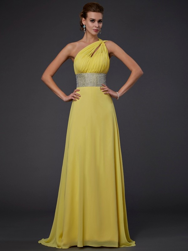 Vibrant Stylist Princess Style One-Shoulder Beading Long Chiffon Dresses