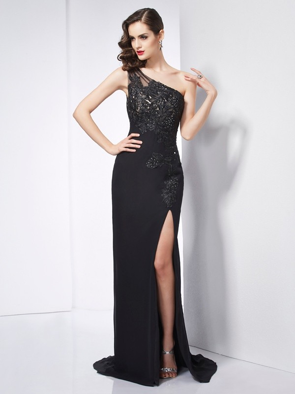 Embracing Grace Sheath Style One-Shoulder Applique Long Chiffon Dresses