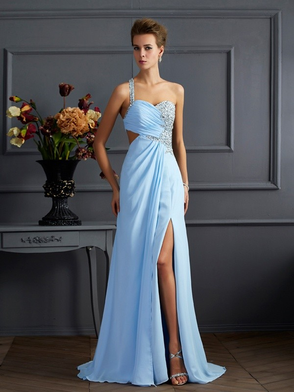 Befits Your Brilliance Sheath Style One-Shoulder Long Beading Chiffon Dresses