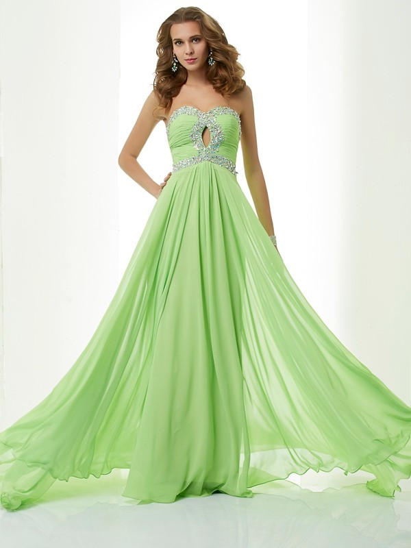 Modern Mood Princess Style Sweetheart Beading Long Chiffon Dresses