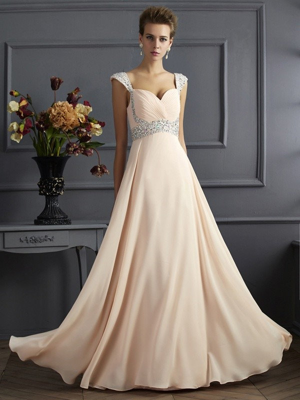 Aesthetic Honesty Princess Style Straps Long Beading Chiffon Dresses