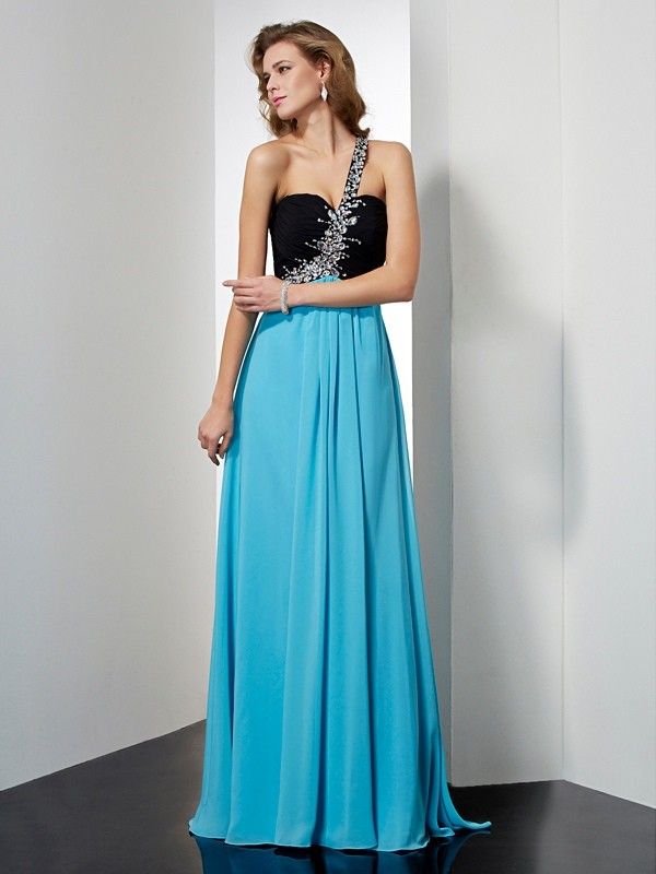 Pleasant Emphasis Princess Style One-Shoulder Beading Long Chiffon Dresses