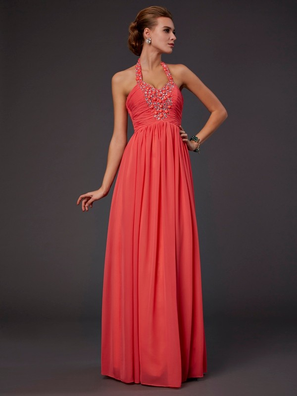First Impressions Princess Style Halter Hand-Made Flower Long Chiffon Dresses