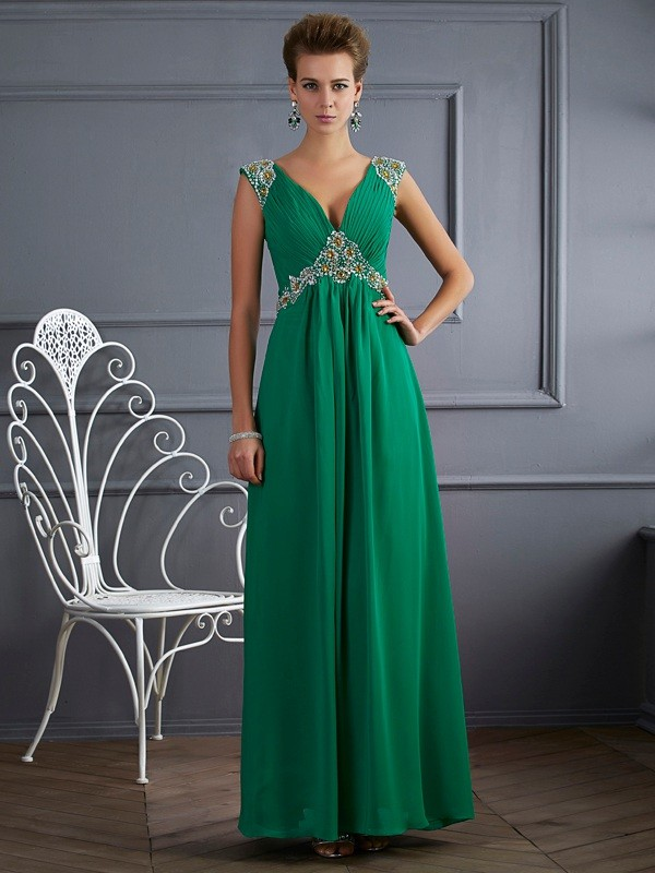 Visual Moment Princess Style V-neck Beading Long Chiffon Dresses