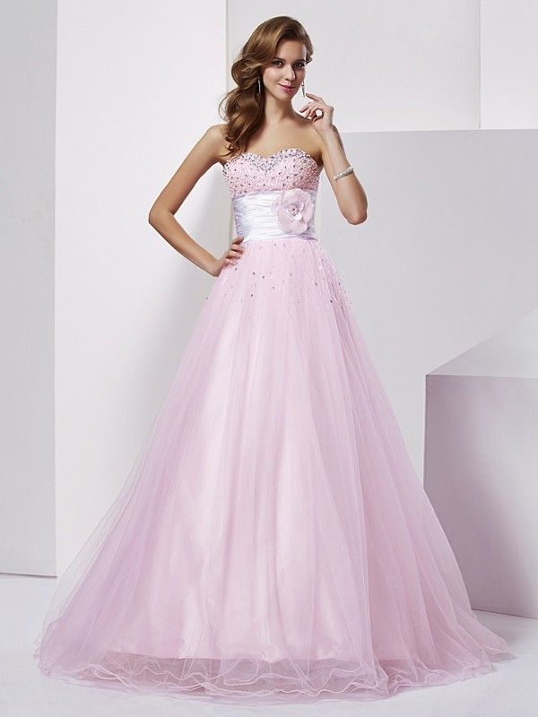 Desired Spotlight Ball Gown Strapless Beading Long Elastic Woven Satin Quinceanera Dresses