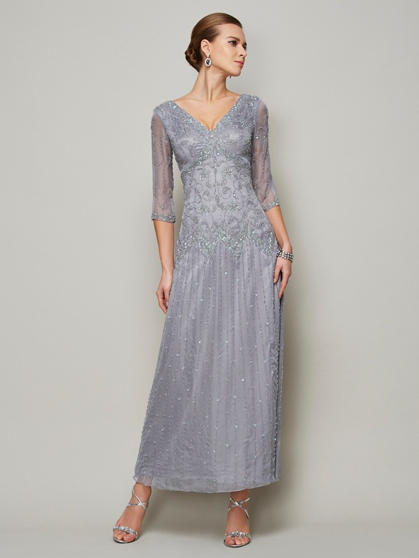 Pretty Looks Sheath Style V-neck Beading Long Elastic Woven Satin Mother of the Bride Dresses