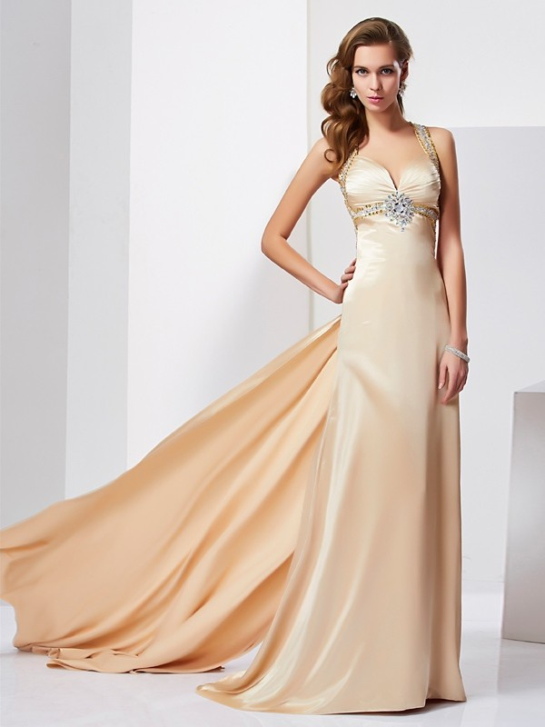 First Impressions Sheath Style Halter Ruffles Long Silk like Satin Dresses