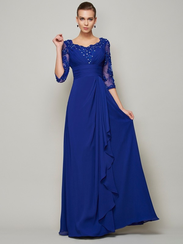 Just My Style Princess Style Scoop Lace Long Chiffon Mother of the Bride Dresses