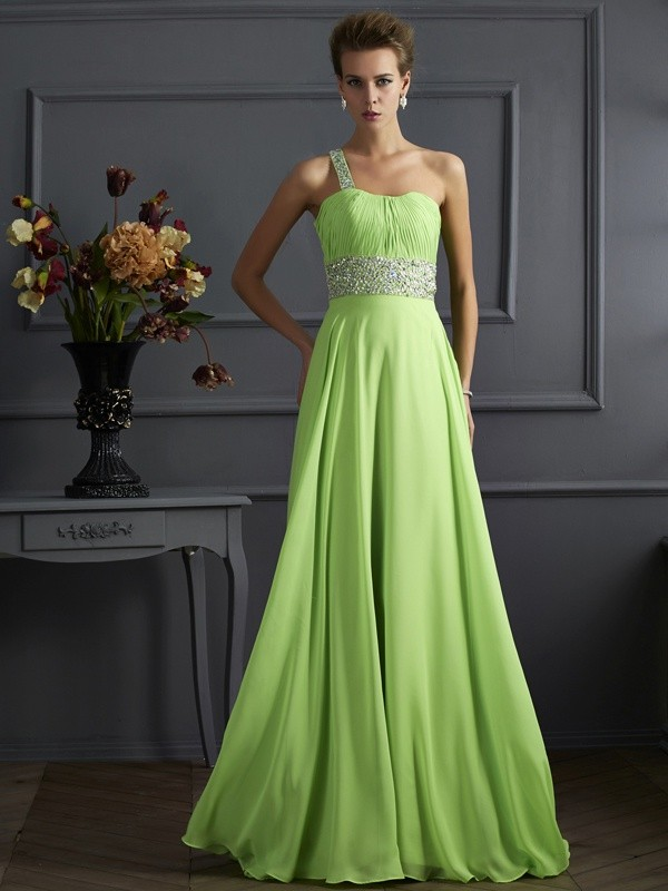 Defined Shine Princess Style Beading One-Shoulder Chiffon Long Dresses