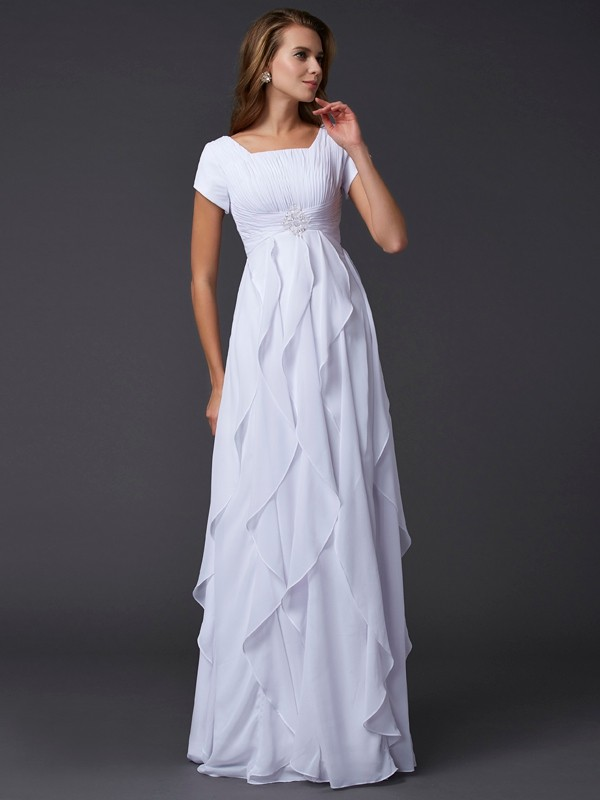 Absolute Lovely Sheath Style Square Ruffles Long Chiffon Dresses