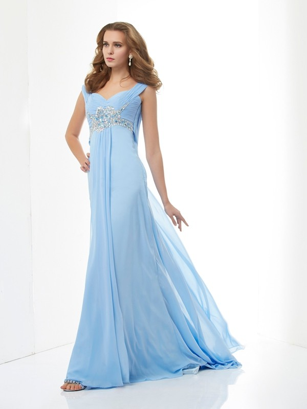 Vibrant Stylist Princess Style Beading Sweetheart Long Chiffon Dresses