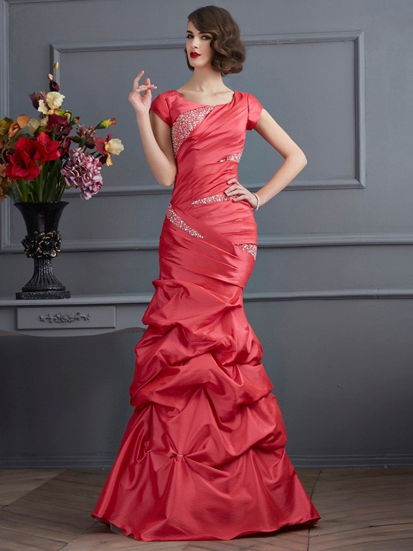 Romantic Vibes Mermaid Style Scoop Beading Long Taffeta Dresses