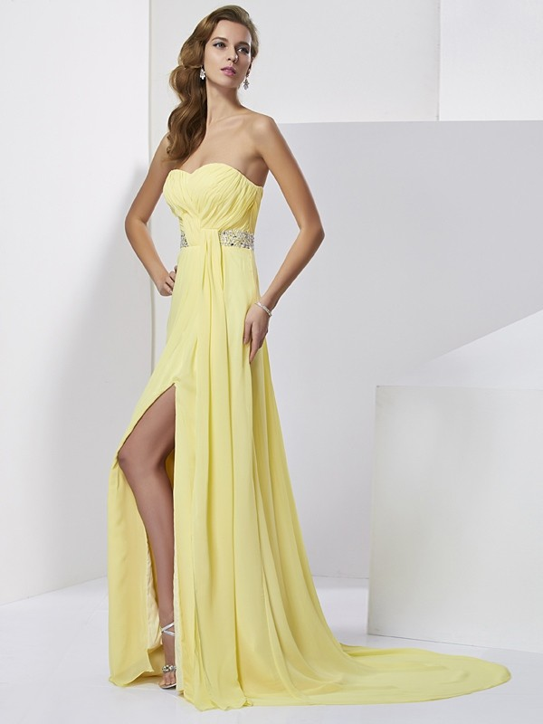 Dashing Darling Sheath Style Sweetheart Beading Long Chiffon Dresses
