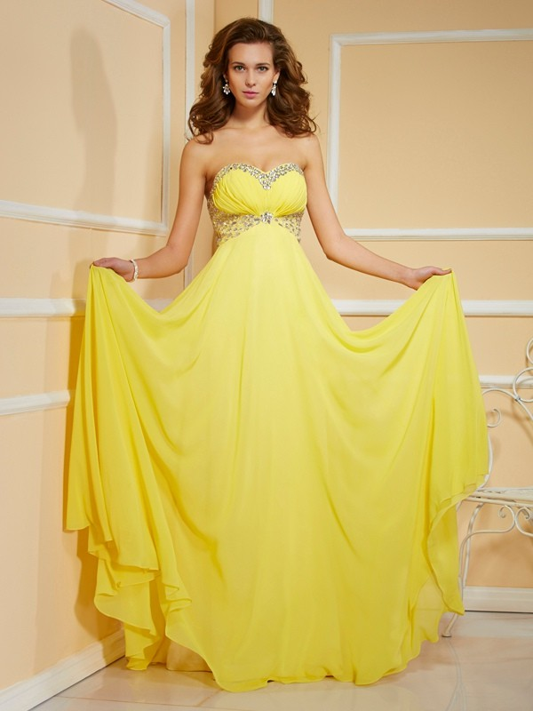 Intuitive Impact Sheath Style Sweetheart Ruffles Ruched Long Chiffon Dresses