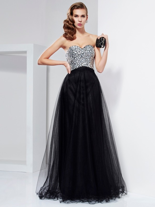 Chic Chic London Princess Style Sweetheart Beading Crystal Long Elastic Woven Satin Dresses