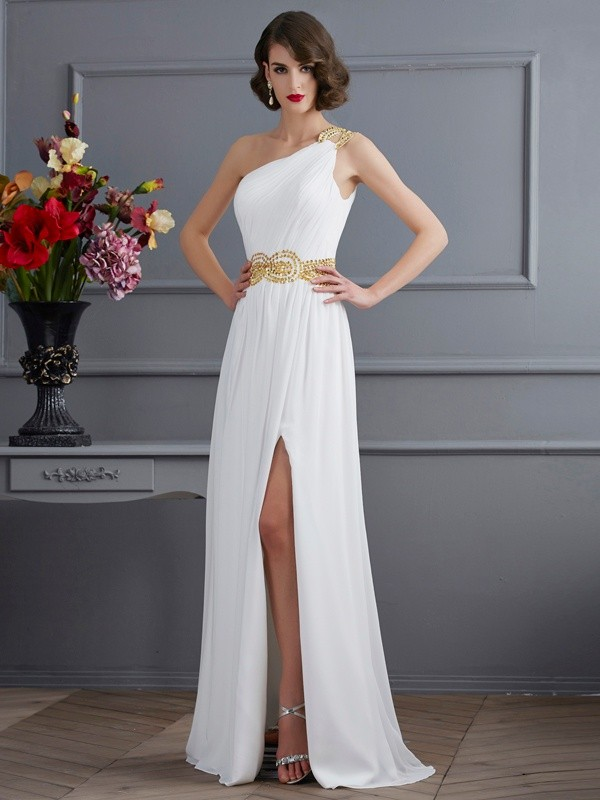 Too Much Fun Princess Style One-Shoulder Ruched Long Chiffon Dresses